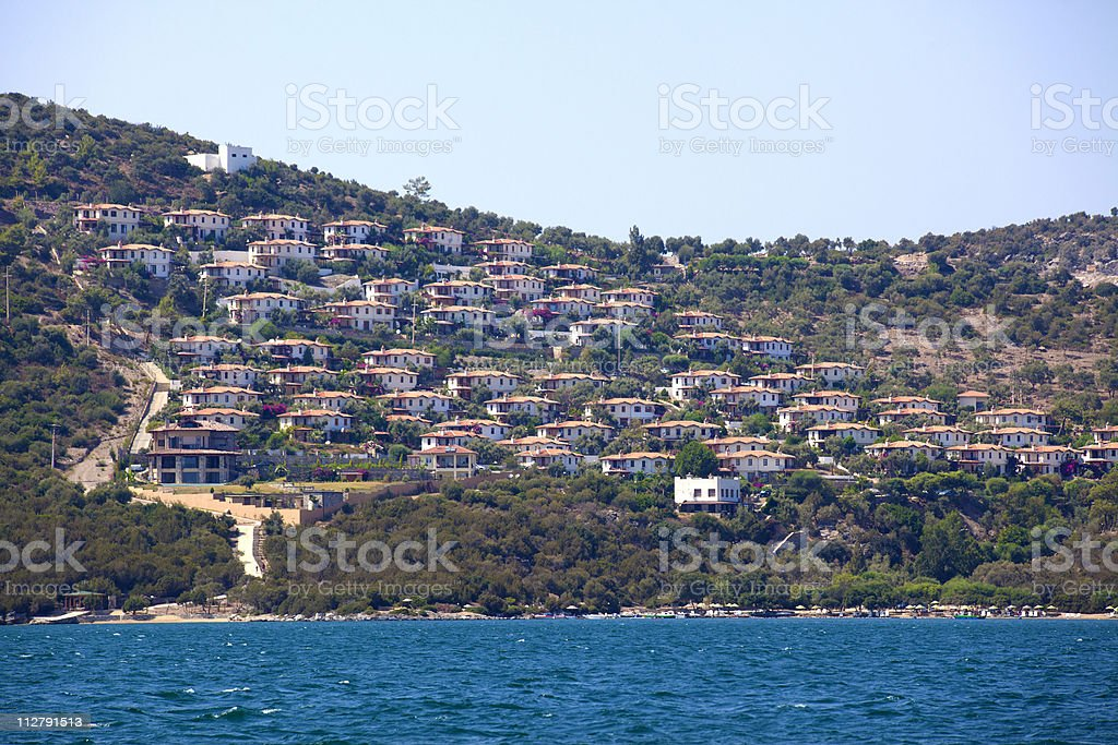 summer houses at bodrum Turkey stock photo