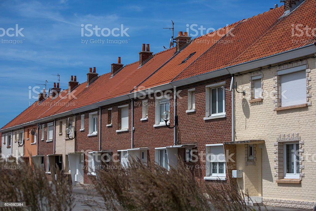 Summer houses at Plage de Petit-Fort-Philippe near calais france stock photo