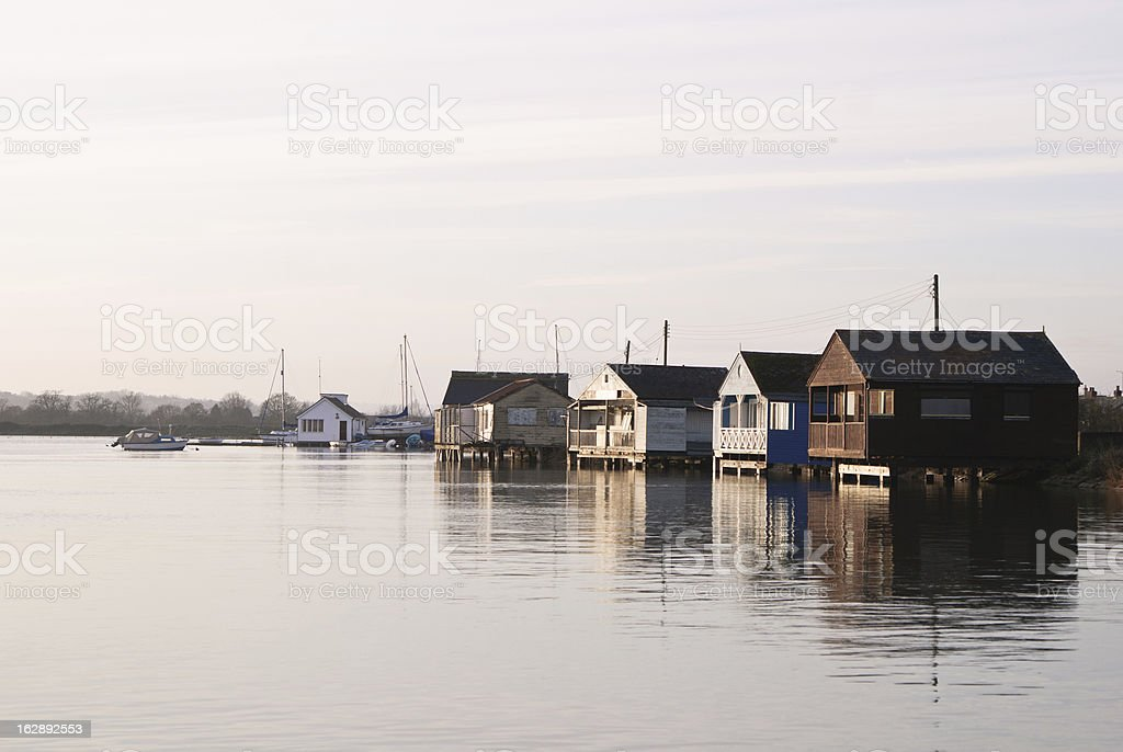 Summer houses on a seaside stock photo