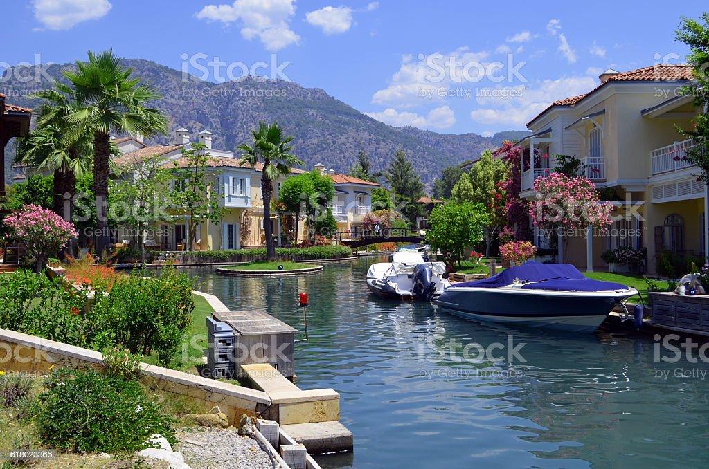 Summer Houses & Speedboats stock photo