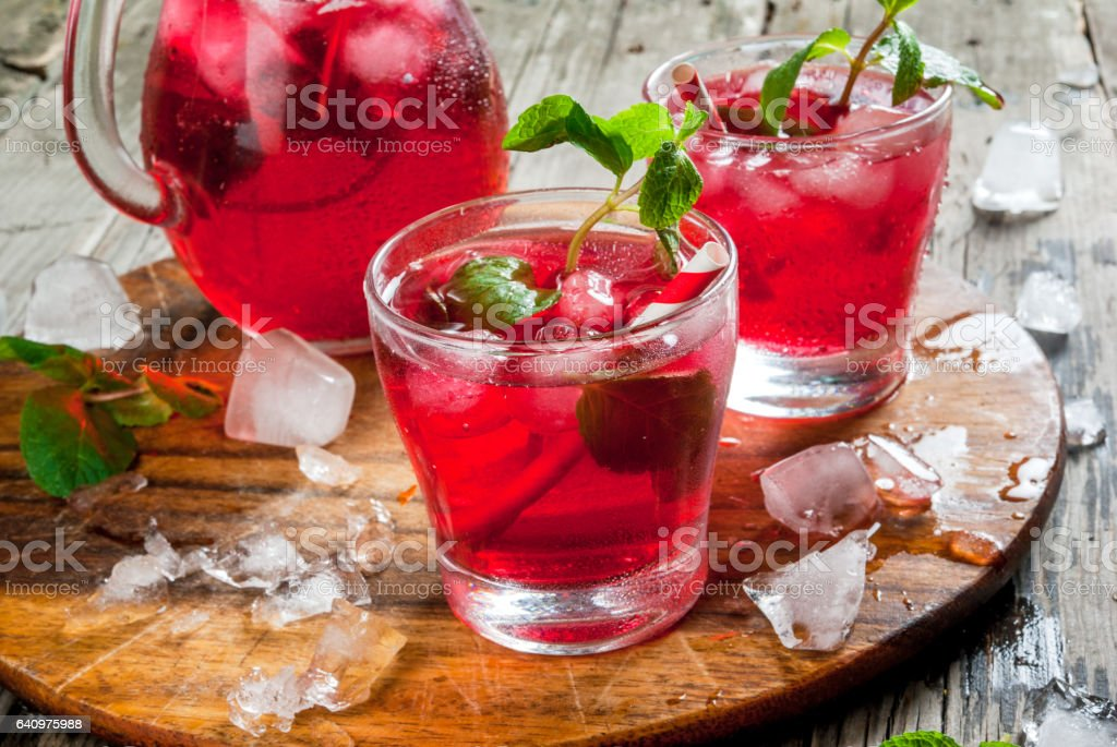 Summer iced drink - tea or juice stock photo