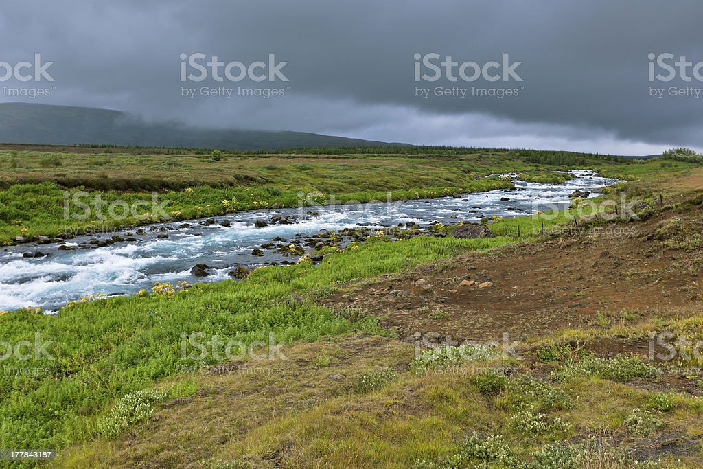 Summer Iceland Landscape with Raging River royalty-free stock photo