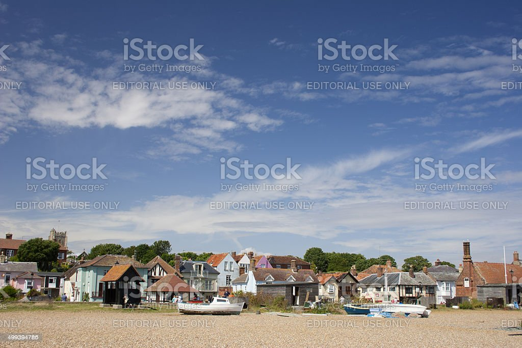 Summer in Aldeburgh, Suffolk, view of town from beach stock photo