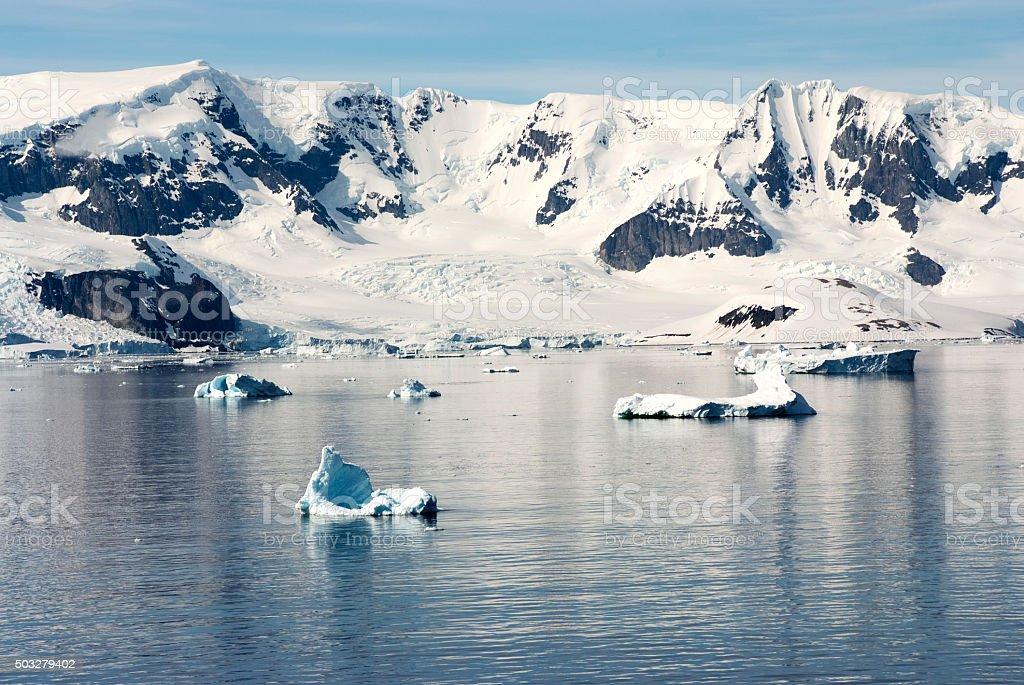 Summer in Antarctica - Coastline of Antarctica With Ice Formations stock photo