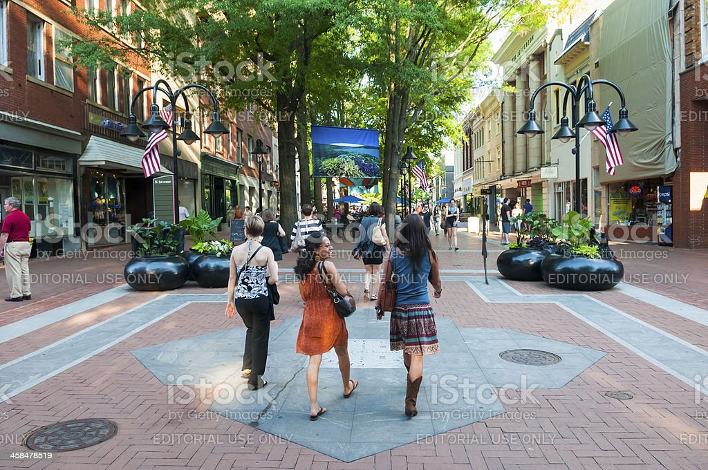 Summer in downtown Charlottesville stock photo