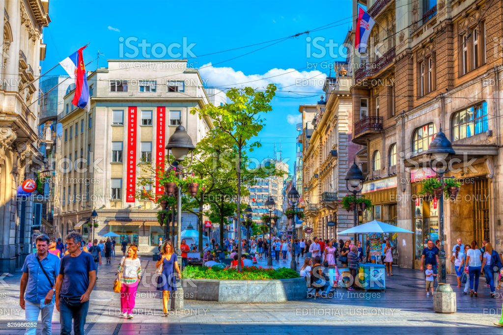 summer in knez mihajlova street stock photo