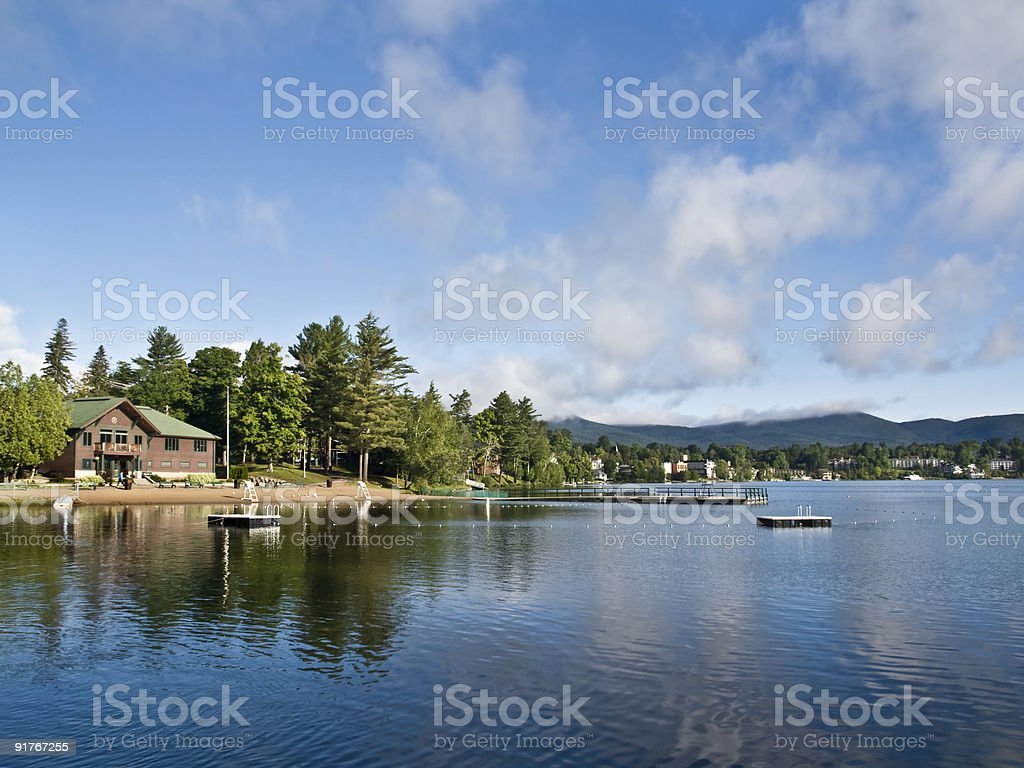 Summer in Lake Placid stock photo