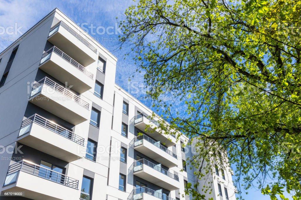 Summer in new modern housing estate stock photo