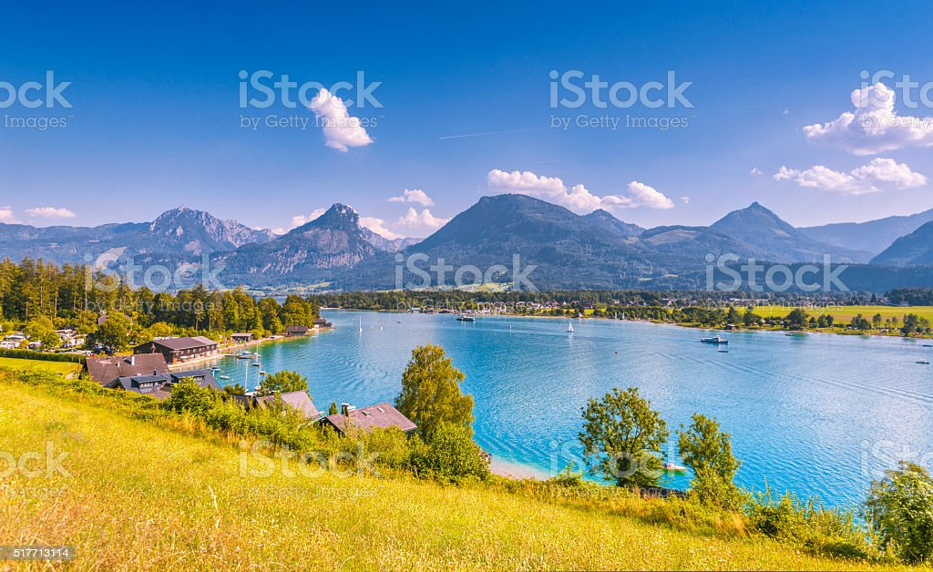 Summer in Ried at the Wolfgangsee stock photo