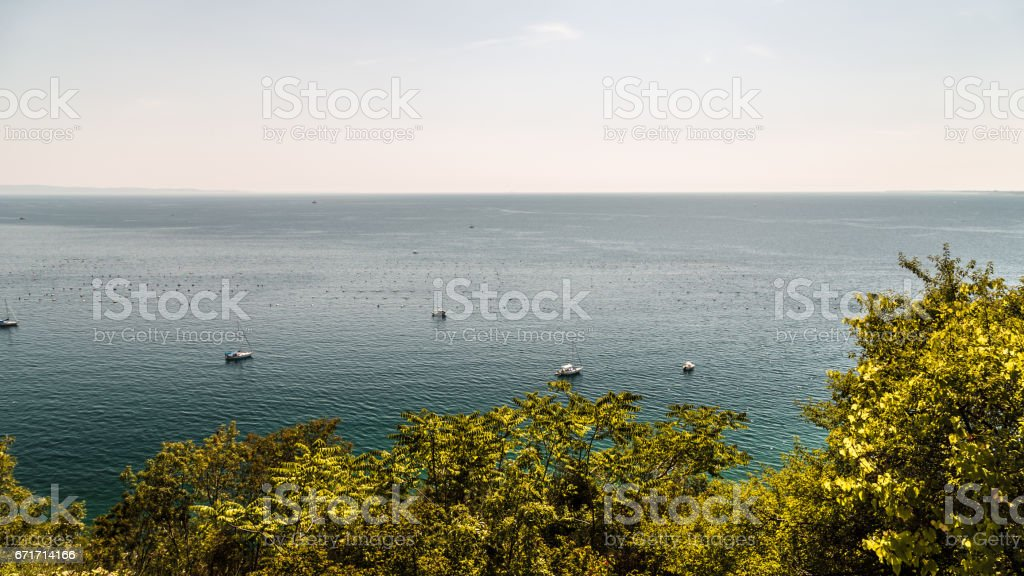 summer in the bay of Trieste stock photo