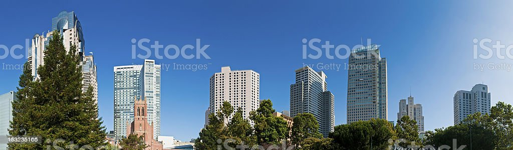 Summer in the city downtown skyscrapers panorama San Francisco California royalty-free stock photo