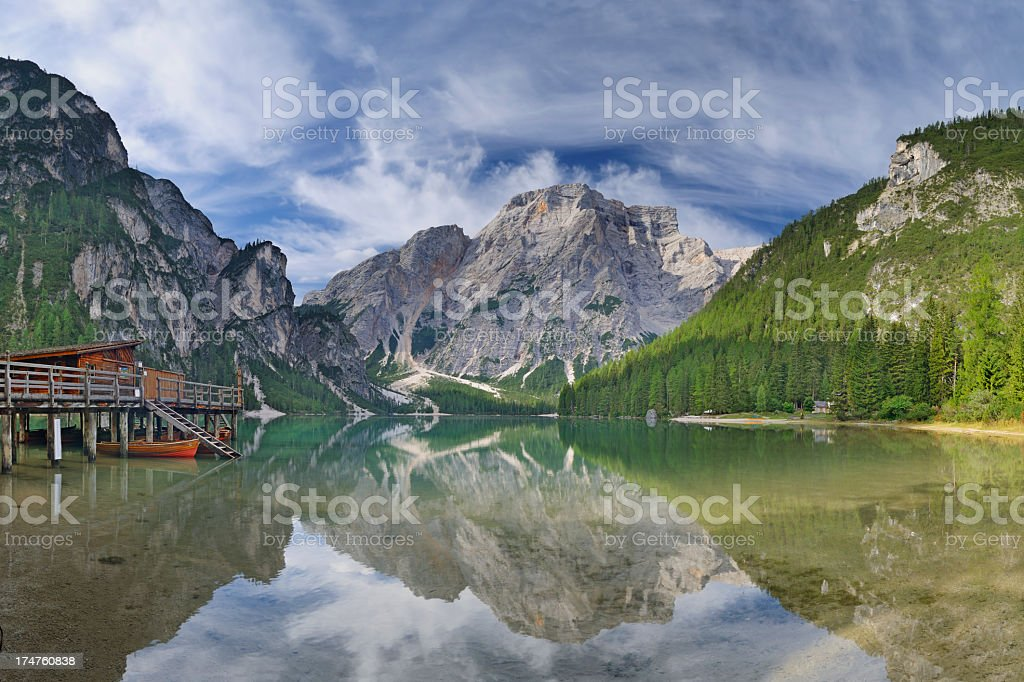 Summer in the Dolomites  (Braies Lake, Pragser Wildsee) stock photo