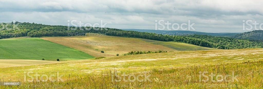Summer in the fields of Bashkortostan stock photo