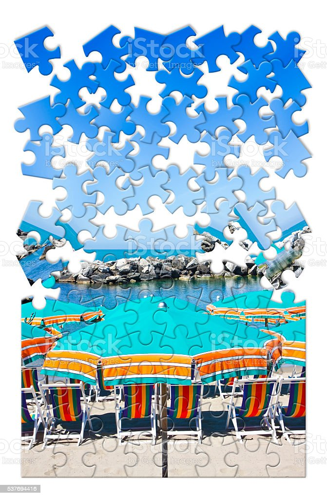 Summer is coming - concept image in puzzle shape stock photo