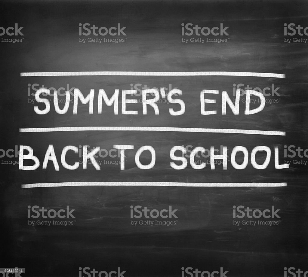 Summer is over, Back to school handwritten on blackboard royalty-free stock photo