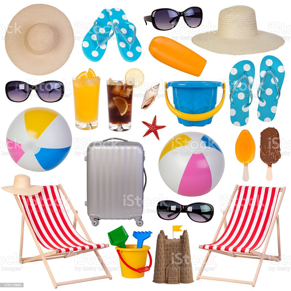 Summer items collection stock photo