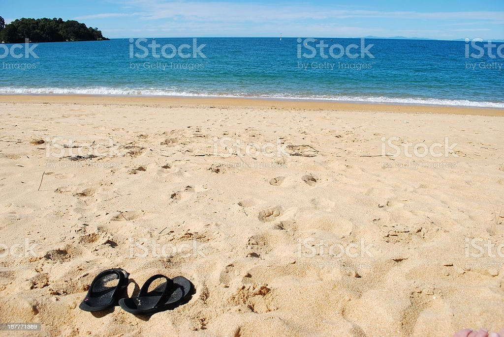 Summer, Jandals on the Beach stock photo
