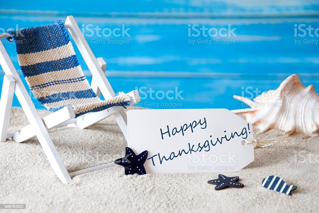 Summer Label With Deck Chair And Text Happy Thanksgiving stock photo