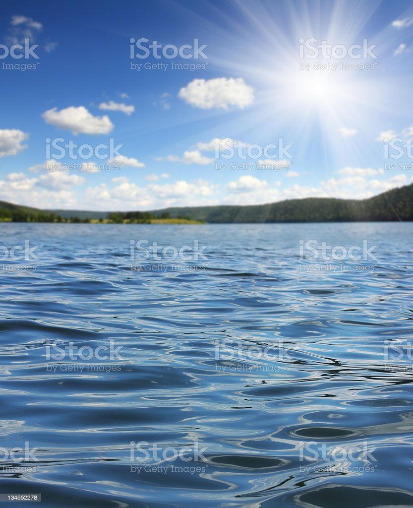 summer lake with waves royalty-free stock photo