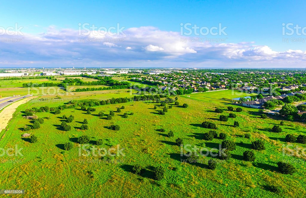 Summer Landscape Aerial Green Meadow Sunrise Texas Hill Country stock photo