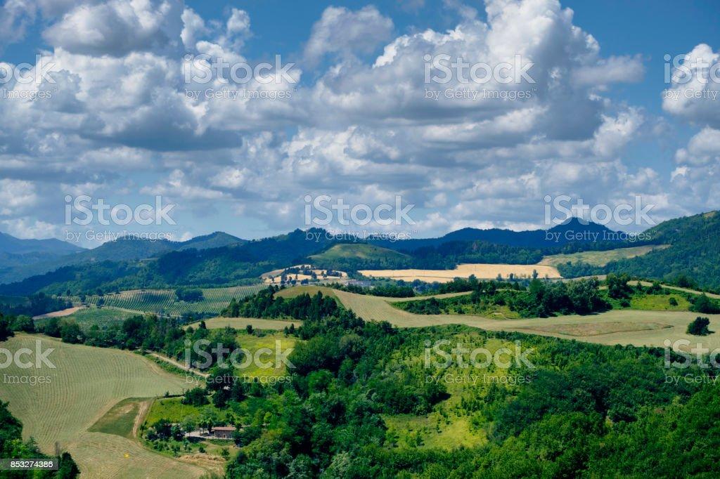 Summer landscape between Brisighella and Modigliana (Romagna, Italy) stock photo