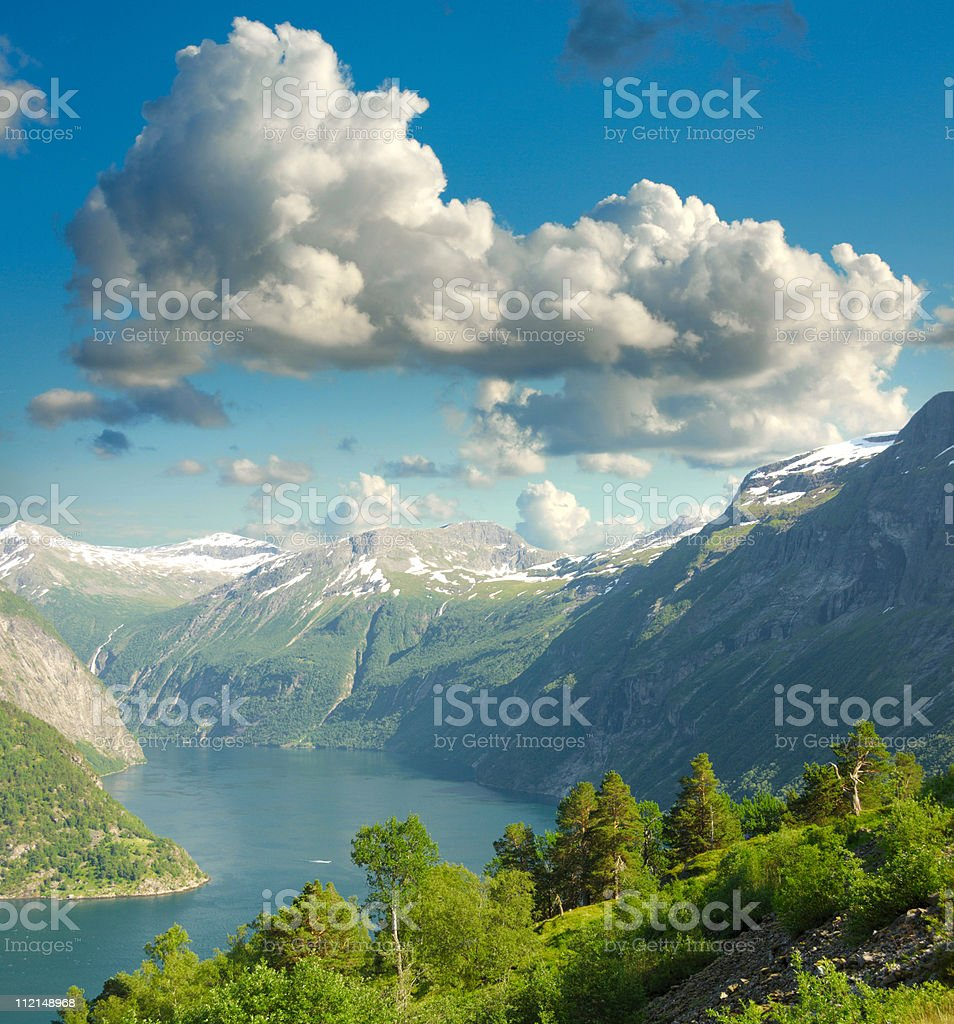 Summer landscape. Blue sky, mountains and fjord stock photo