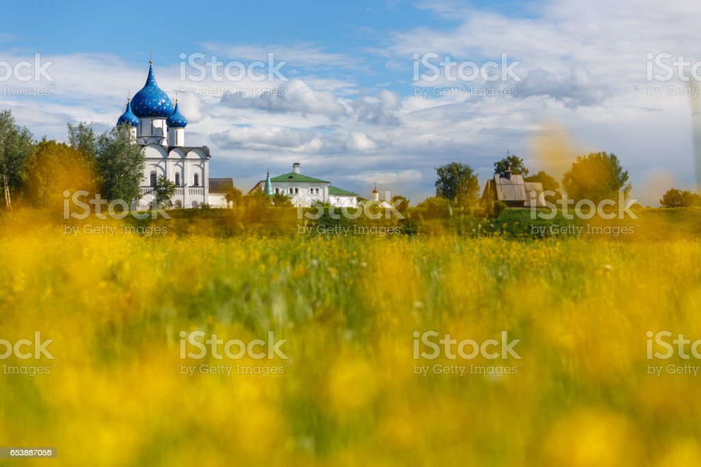 Summer landscape in Suzdal stock photo