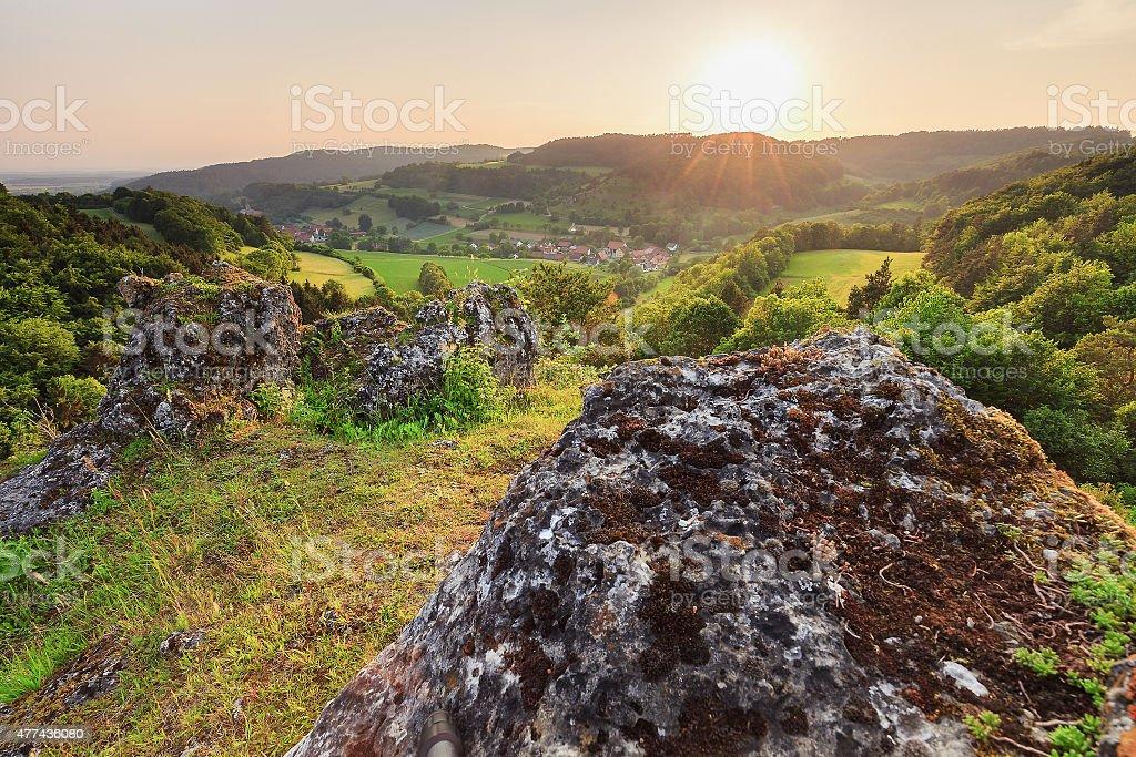 Summer Landscape in the Franconian Switzerland, Germany. stock photo