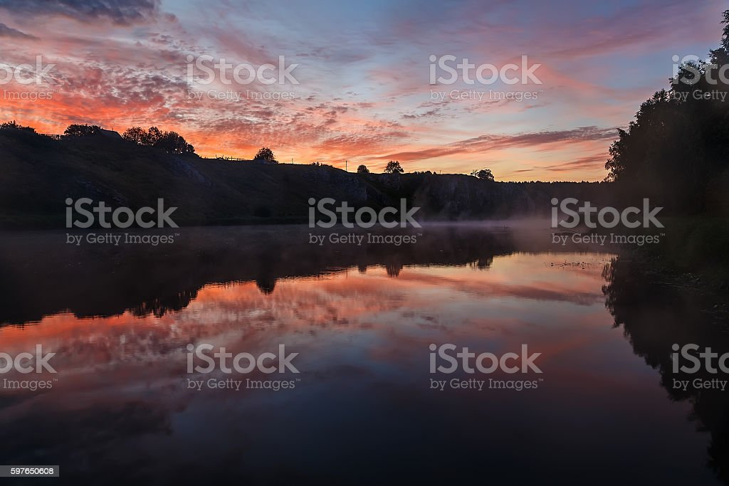 summer landscape mountain massif of Polar Urals stock photo