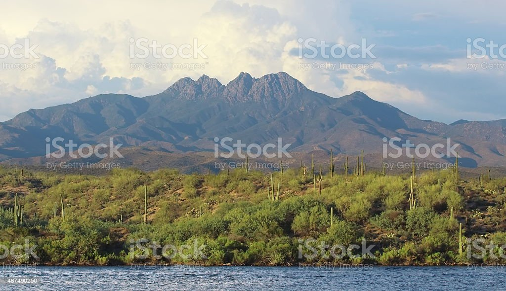 Summer Landscape of mountain and river stock photo