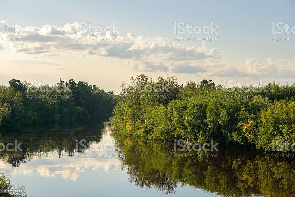 summer landscape river Yagenetta summer in the far north stock photo