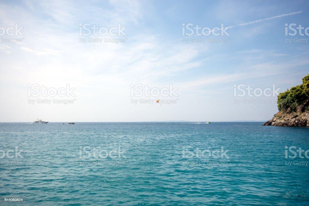 Summer landscape, turquoise sea under blue sky stock photo