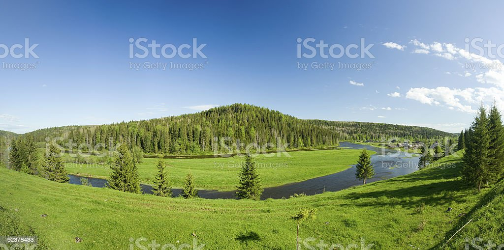 Summer landscape. Village on the river. Panorama. royalty-free stock photo