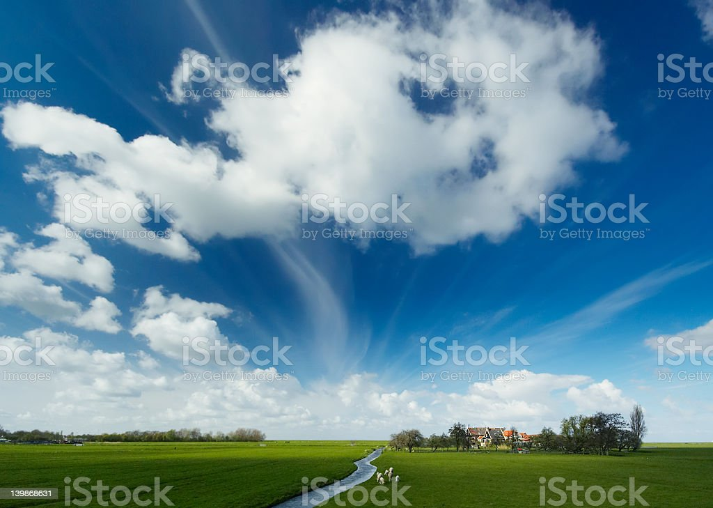 Summer landscape with blue sky stock photo