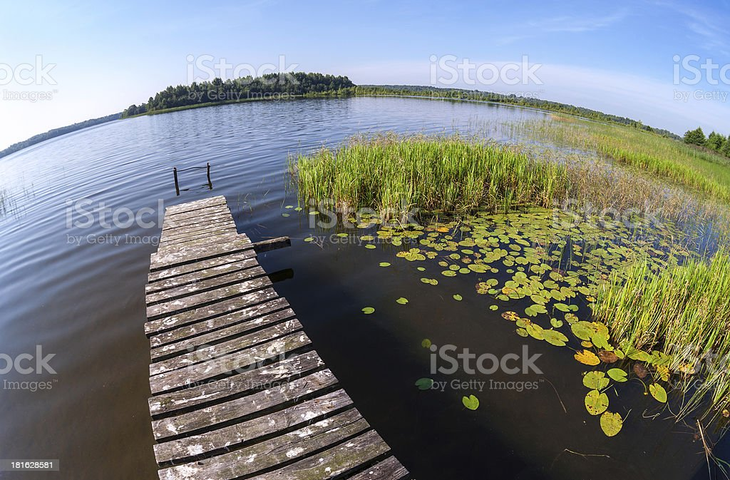 Summer landscape with lake and wooden bridge stock photo