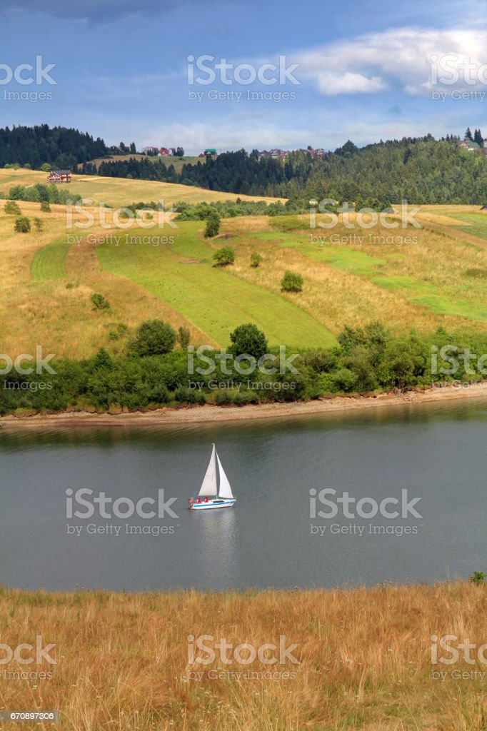 summer landscape with mountain lake stock photo