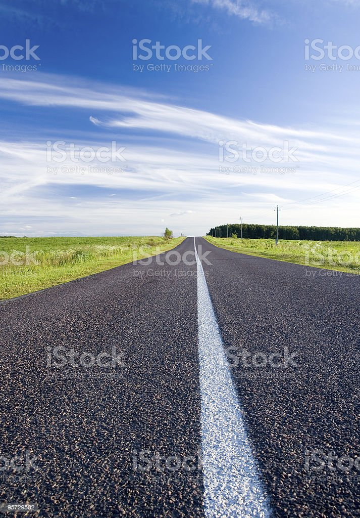 Summer landscape with rural road royalty-free stock photo