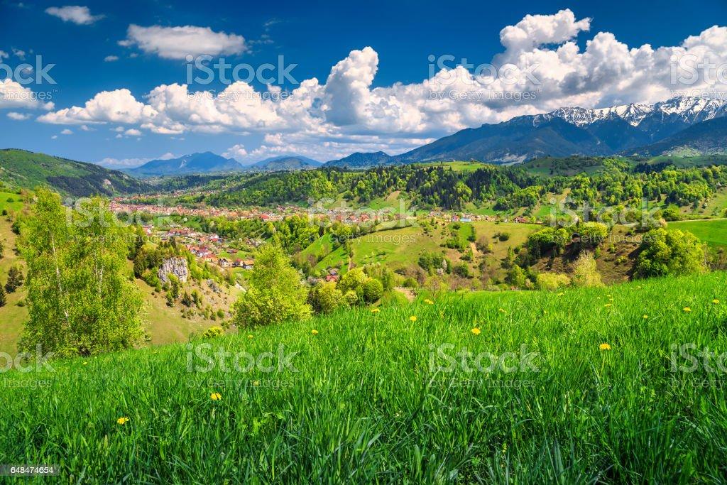 Summer landscape with rural village, Bran, Transylvania, Romania, Europe stock photo