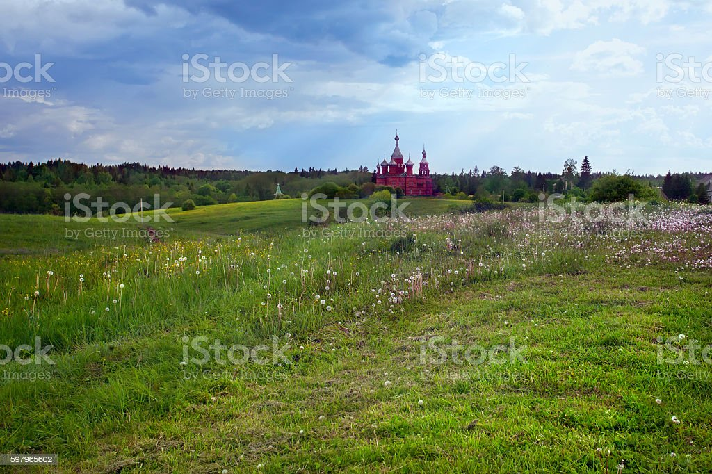 Summer landscape with the Russian church stock photo