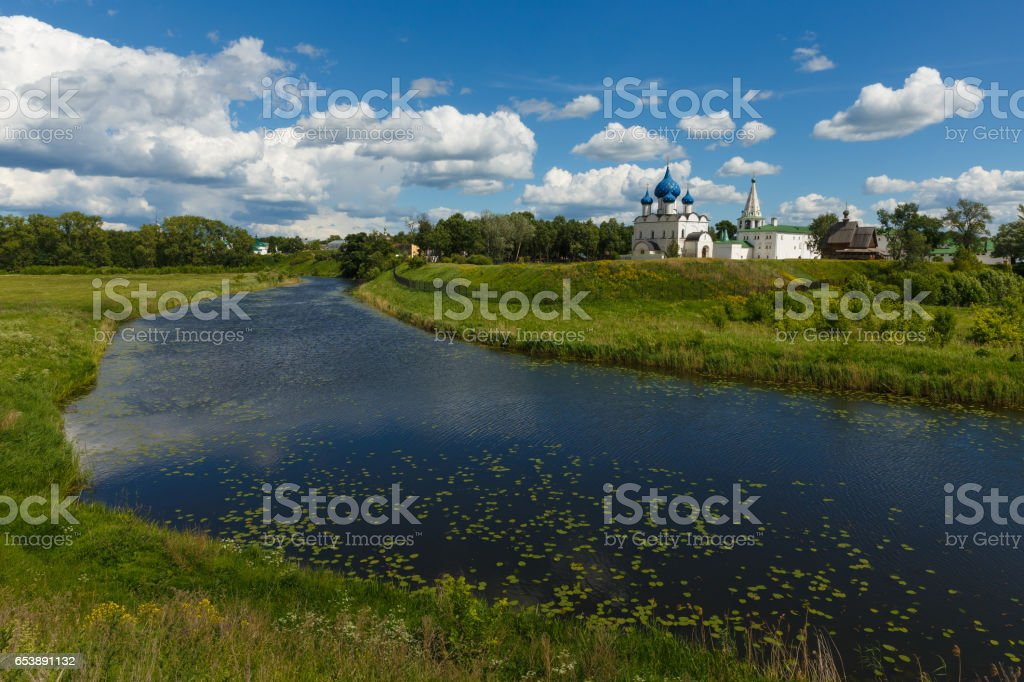Summer landscape with view of Suzdal Kremlin stock photo