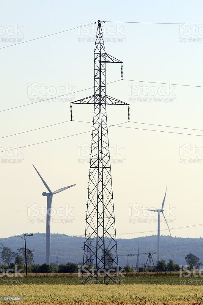 Summer landscape with wind turbines stock photo