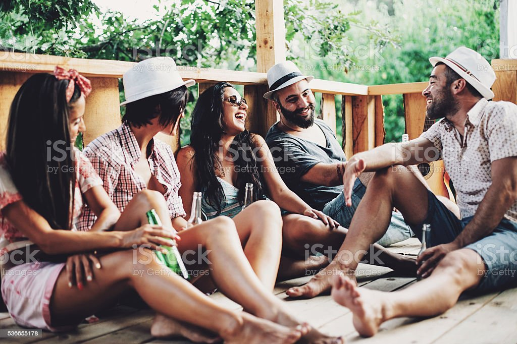 Summer leisure with friends stock photo