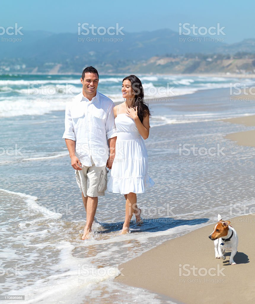 Summer: long walks on the beach with the ones you love stock photo