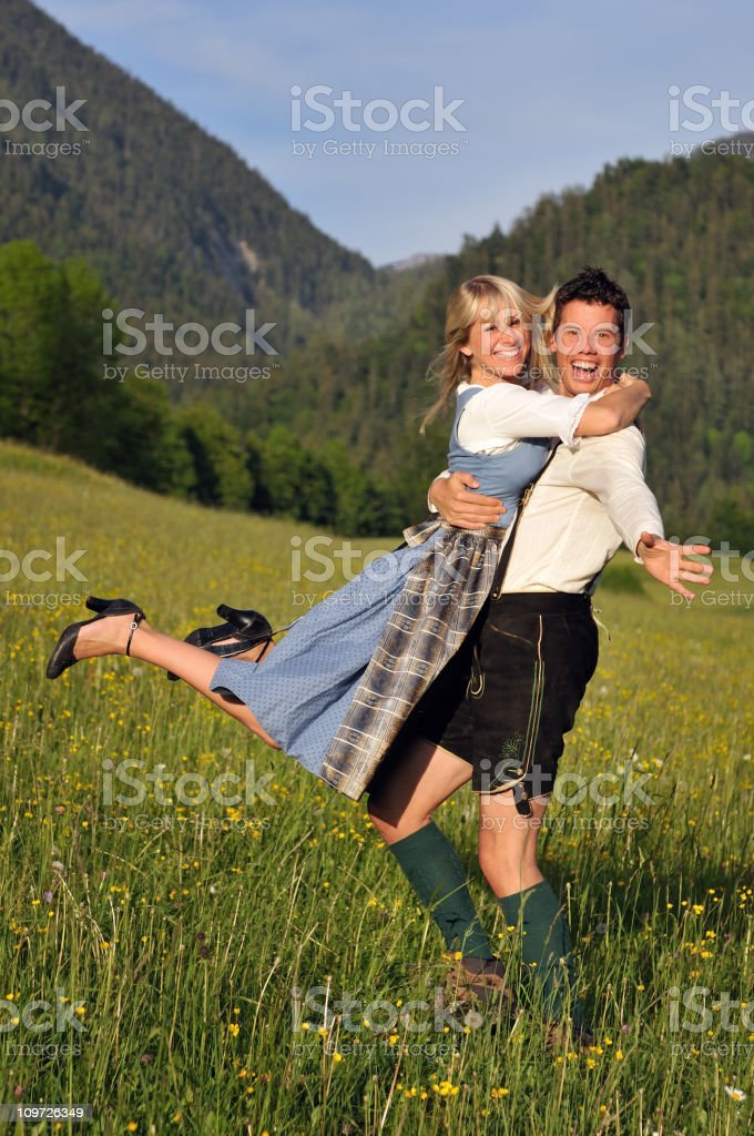 Summer Love, Beautiful Couple in traditional Tracht royalty-free stock photo