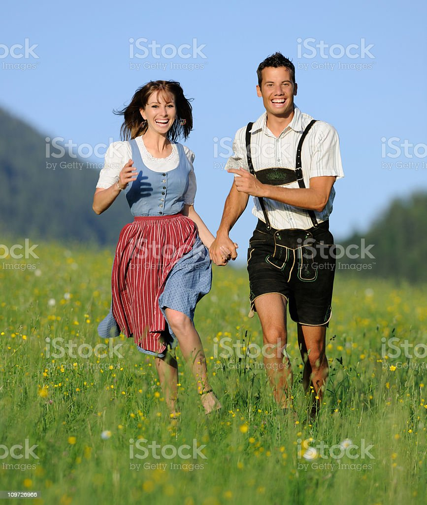 Summer Love, Couple in traditional Tracht royalty-free stock photo