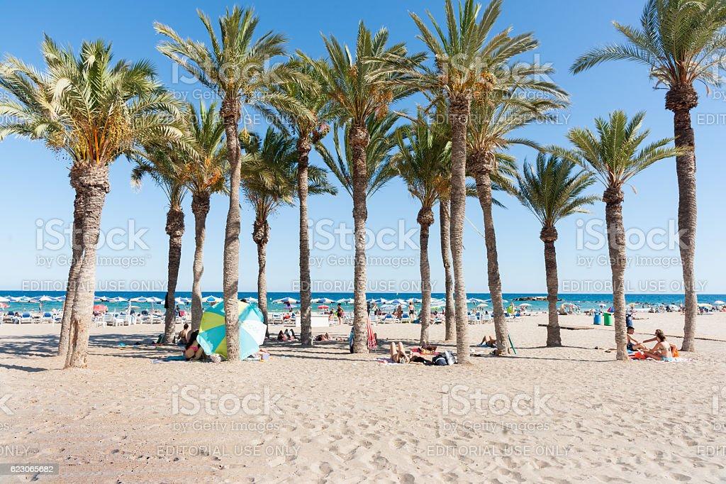 Summer Mediterranean beach scenes La Vila Joisa, Alicante Spain stock photo