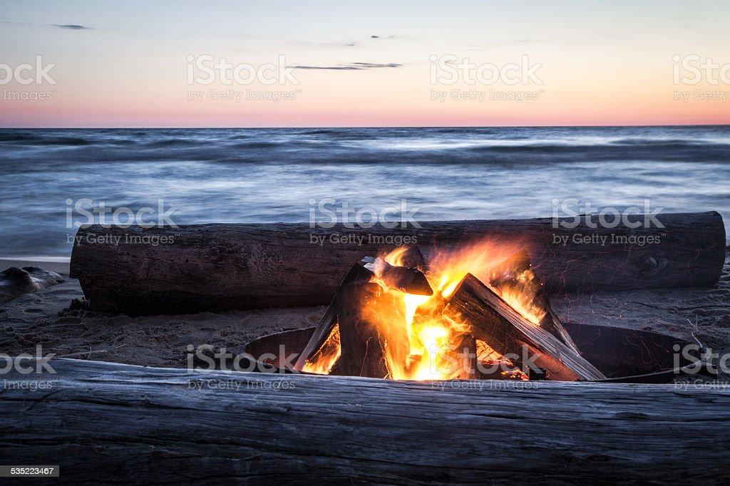 Summer Memories Of A Bonfire On The Beach. stock photo