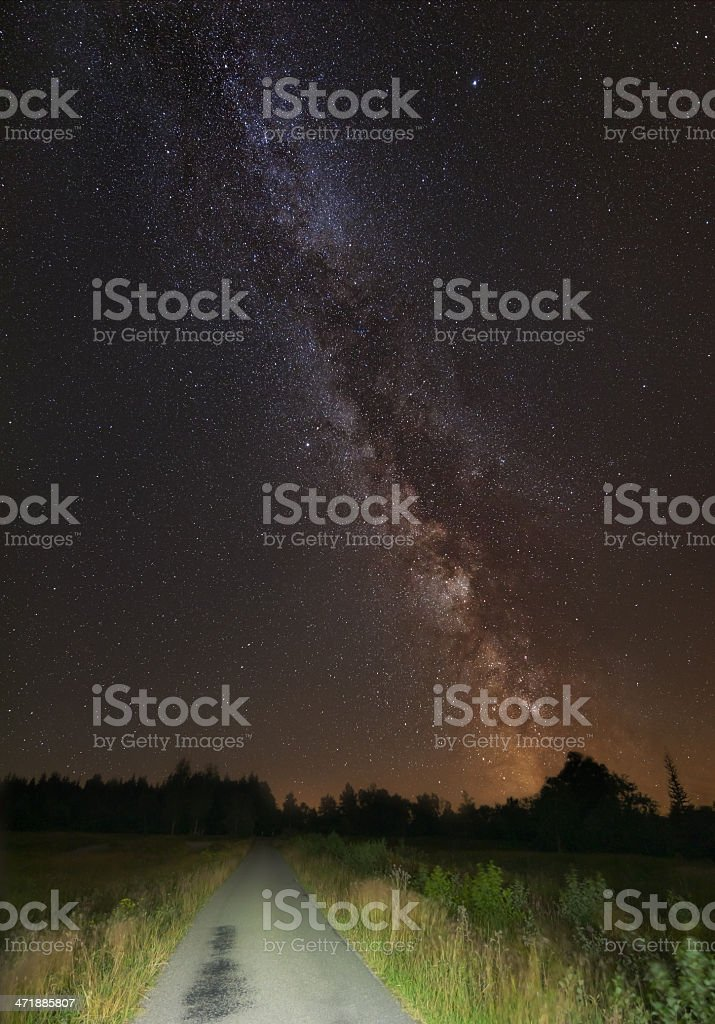 Summer Milky Way And Road royalty-free stock photo
