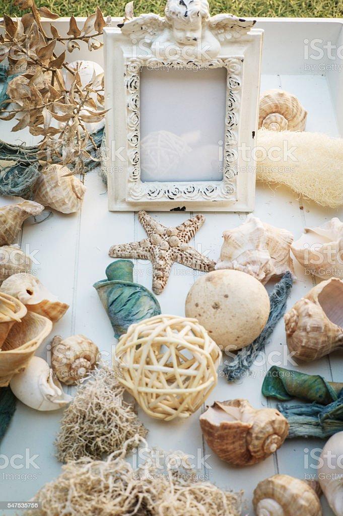 summer mockup with seashells stock photo