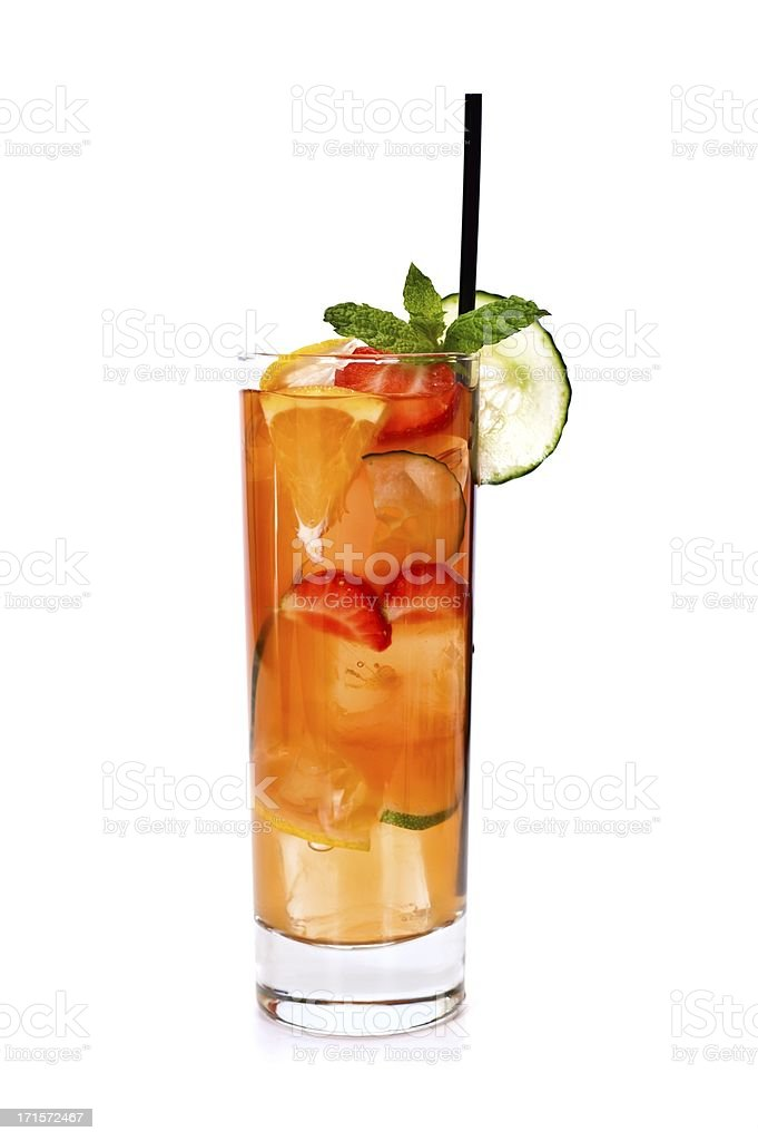 A summer mojito cocktail of strawberries orange and mint  stock photo